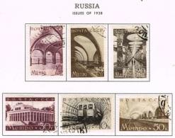 RUSSIA - 1938, Moscow Metro  Mi. 646/51 Serie Cpl. 6v. Usati - Gebruikt