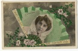 Art Nouveau  Artiste Emilienne D' Alençon  Reutlinger Cadre Visage Dans Eventail Cachet Train Digoin à Etang - Artistas