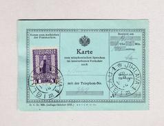 Österreich IGLAU JIHLAVA 1 Krone Auf Telephon Beleg Benützt Am 19.10.1916 ? - 1850-1918 Imperium