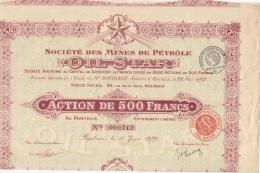 ACTION DE 500 FRANCS SOCIETE DES MINES DE PETROLE OIL STAR - Actions & Titres