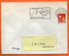 EVIAN LES BAINS   LAC LEMAN  18 / 8 / 1964 Lettre Entière  N° BB 129 - Marcophilie (Lettres)