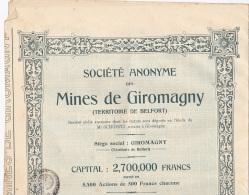 ACTION DE 500 FRANCS MINES DE GIROMAGNY - Actions & Titres