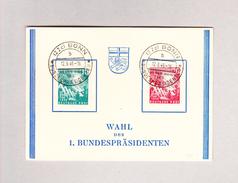 Deutschland BRD 12.9.1949 Bonn 10 Und 20Pf 1.Bundestag 1949 Auf Erinnerungskarte Wahl Der 1 Bündespräsidenten - BRD