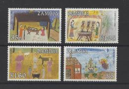 ZAMBIE . YT  360/363  Neuf **  Noël. Dessins D'enfants  1986 - Zambie (1965-...)
