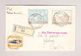 Griechenland R-Brief Patrai 17.8.1929 Nach Gräsberg Via Brindisi - Lettres & Documents