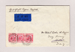 Zypern 19.4.1932 Limassol Waagrechter 3-er Stzreifen 1 1/2 Piastres Erstflug Brief Cyprus Bagdad - Chypre (...-1960)