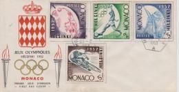 FDC MONACO 1953 : JEUX OLYMPIQUES D´HELSINKI 1952