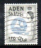 T568 - ADEN, 1 Scellini 25 Cents N. 75  Usato . Filigrana CA - Aden (1854-1963)