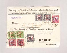 China 1920 Schanghai Vorderseite (Front Only) R-Brief Nach Basel - 1912-1949 République