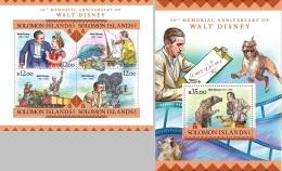 Solomon Island 2016 Walt Disney 50th Aniv Cartoons MS+S/S SLM16222 - Célébrités