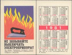 USSR. 1981. Belarus. Iron. Fer à Repasser. Fire Safety - Calendars