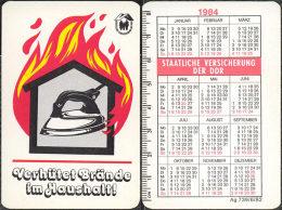 DDR. 1984. Iron. Fer à Repasser. Fire Safety - Calendars
