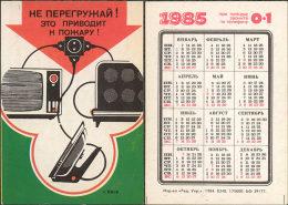USSR. 1985. Ukraine. Iron. Fer à Repasser. TV. Fire Safety - Calendars