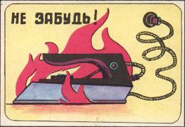 USSR. 1987. Tadjikistan. Iron. Fer à Repasser. Fire Safety - Calendars