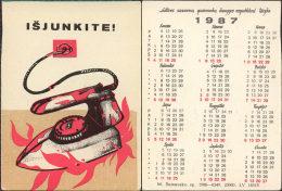USSR. 1987. Lithuania. Iron. Fer à Repasser. Fire Safety - Calendars