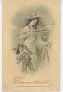 FEMMES - FRAU - LADY -  Jolie Carte Fantaisie Viennoise Enfants Avec Poissons 1er Avril - M.M. VIENNE N°379 - 1 April (aprilvis)