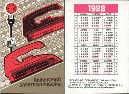USSR. 1988. Ukraine. Iron. Fer à Repasser. Fire Safety - Calendriers