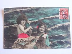 HUMOUR PECHE A LA LIGNE  PECHEURS  ENFANTS  MER CPA 1908 - Humour