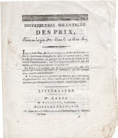 1809 - Feuillet De La DISTRIBUTION SOLENNELLE DES PRIX Faite Au Lycée De Caen Le 14 Août 1809 - Diploma & School Reports