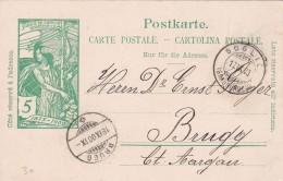 SUISSE ENTIER POSTAL SOGLIO 1900 - Marcophilie