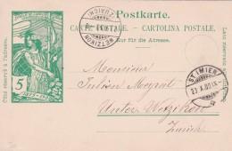 SUISSE ENTIER POSTAL  ST.IMIER 1900 - Marcophilie