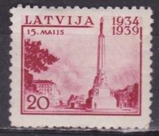 LATVIJA 1939 President Ulmanis Libertystatue In Riga 20 S Carmine  MH Mi. 274 - Lettland