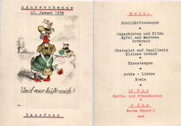 Menu Peint Main - Gäneseschmaus - 22. Januar 1938 - Und Roer Küftmich  - Hausfrau (90856) - Menus