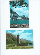 ECOSSE Scotland Lot 2 Cartes Cpm - Scans R/V-The Forth Bridge (pont) /Prince Charlie´s Monument Loch Shiel Glenfinnan - Ecosse