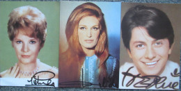 Dalida - Herve Vilard - Petula Clark - Lot 3 Cartes Dedicace Signature Imprimee - Chanteurs & Musiciens