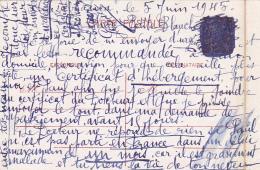 Entier CP CAVIARDÉ Daté De CASABLANCA 8 Novembre 1942 MAROC Et Envoyée Le 5 Juin 1945 - Guerre Mondiale (Seconde)