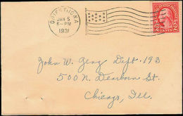 IOWA ORIENT 1931  JAN 5   FLAG CANCEL - Storia Postale