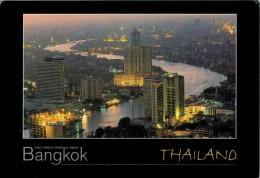 BANGKOK   CHAO PHRAYA  RIVER  AT  NIGHT        MAXICARD  2 SCAN  (VIAGGIATA) - Tailandia