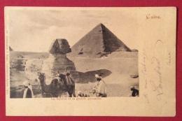 EGITTO  CARTOLINA SFINGE E PIRAMIDI DAL CAIRO A BRUXELLES IN DATA  18/2/1901 - 1866-1914 Ägypten Khediva