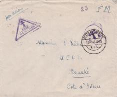 """CaD """" POSTES AUX ARMÉES F.F.L. 16/5/45 """" Sur Lettre FM  > BOUAKÉ COTE D'IVOIRE AVION CENSURE ARMÉE + Croix De Lorrain - Postmark Collection (Covers)"""