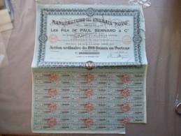"""LOMME MANUFACTURE DES ENGRAIS """"NOVO"""" LES FILS DE PAUL BERNARD & Cie ACTION ORDINAIRE DE 100 FRANCS 15 DECEMBRE 1930 - Actions & Titres"""