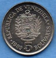 R9/ VENEZUELA  5 Bolivares 1989  SPL +  KM#53a2 - Venezuela