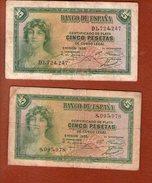 2 Billet Certificado De Plata CINCO PESETAS De Curso Legal---EMISION 1935 - [ 2] 1931-1936 : République