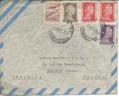 Enveloppe >> Asnières 1953 Timbres 520x2, 522, 524, 467 - Argentina