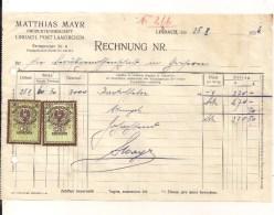 1 Rechnung Lindach 25.10.1934 Nach Goisern Mit 2 Aufgekl. Stempelm. 20 + 30 Groschen Aus 1925 - Autriche
