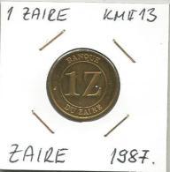 D10 Zaire 1 Zaire 1987. KM#13 - Zaïre (1971-97)