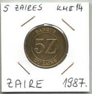 D10 Zaire 5 Zaires  1987. KM#14 - Zaïre (1971-97)