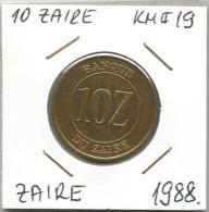 D10 Zaire 10  Zaire  1988. KM#19 - Zaïre (1971-97)