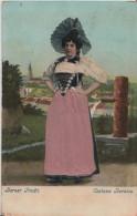 Berner Tracht - Costume Bernois - Relief Präge Karte Mit Stoff - BE Bern