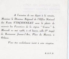 VP5520 - Carte - Carton D´Invitation De L'Office National Des Forets à ORLEANS - Garde Forestier - Sin Clasificación