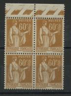 FRANCE -  60c BISTRE TYPE PAIX Bloc De 4 Haut De Feuille - N° Yvert 364** - 1932-39 Paix