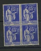 FRANCE -  65c BLEU TYPE PAIX Bloc De 4  - N° Yvert 365** - 1932-39 Paix