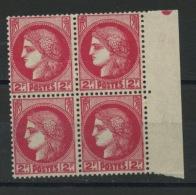 FRANCE -   TYPE CERES 2F ROSE BLOC DE 4 BORD DE F. - N° Yvert 373 ** - France