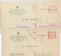 1938/9 FASCISMO AFFRANCATURA MECCANICA ROSSA  INFADEL  2 INTESTAZIONI E IMPORTI DIVERSI OTTIMA QUALITÀ  (6926) - Affrancature Meccaniche Rosse (EMA)