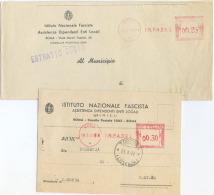1941 FASCISMO AFFRANCATURA MECCANICA ROSSA  INFADEL  2 INTESTAZIONI E IMPORTI DIVERSI OTTIMA QUALITÀ  (6927) - Affrancature Meccaniche Rosse (EMA)