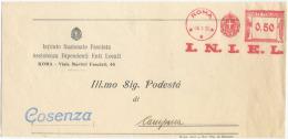 1936FASCISMO AFFRANCATURA MECCANICA ROSSA  INIEL  18.3.36 TIMBRO DI ARRIVO E OTTIMA QUALITÀ  (6928) - Affrancature Meccaniche Rosse (EMA)